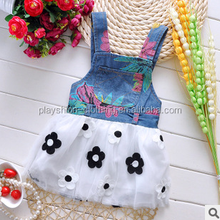 Wholesale Summer water Ink color jeans baby fashion dress school dress