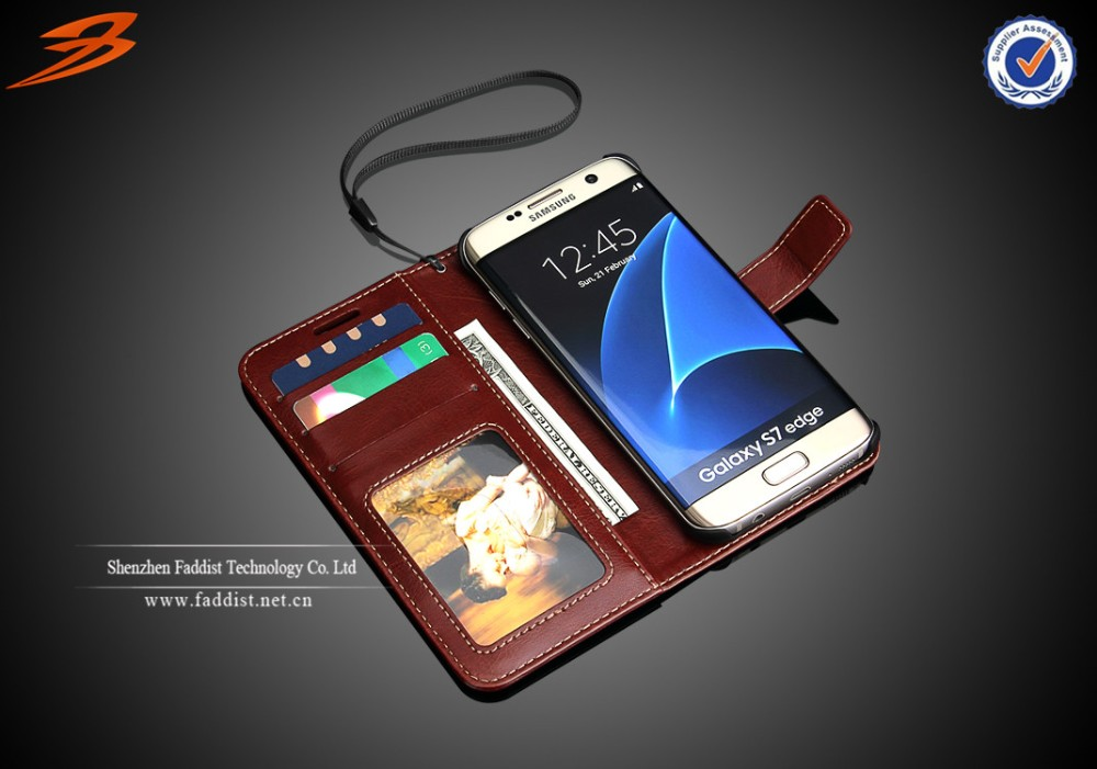 High quality wallet stand card slots and photo frame design for Samsung s7 edge case
