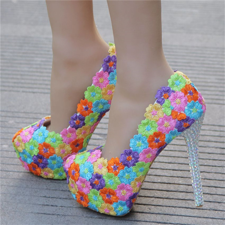 2018 Lace Colorful Flowers Decration Custom Your Own Sexy High Heels Shoes and Handbag Sets