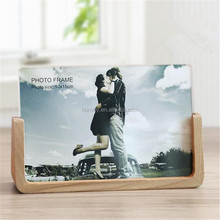 6 inch Modern Minimalist Acrylic Wedding Photo Frame with U-shaped Wooden Base