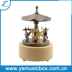 Wooden Handmade Music Box carousel music box Moving Carousel Top Quality Bulk Price