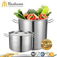 Realware food service equipment Zhenghua chef polished commercial large big soup stainless steel stock pot