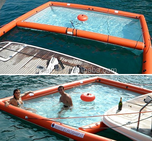 Hola square floating inflatable boat swimming pool/inflatable swimming pool