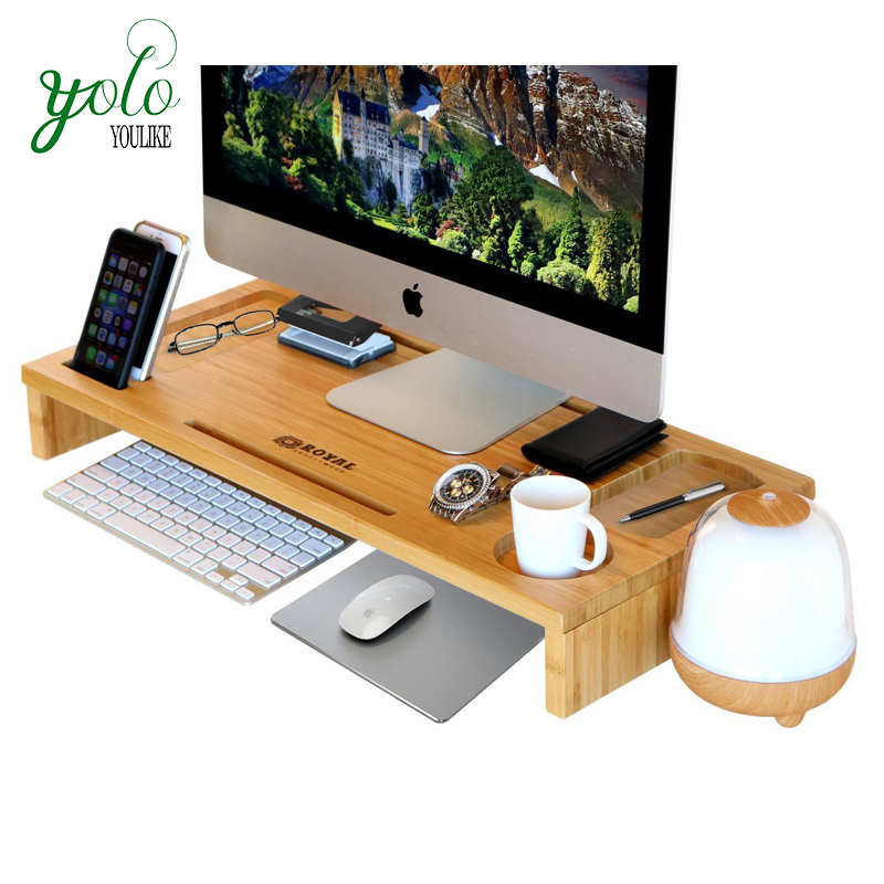 Computer Monitor Stand /Riser Bamboo Laptop Stand and Desk Organizer