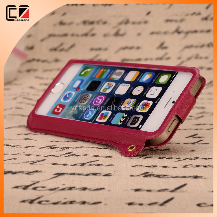 Coolzone Clips stand leather frame case for iPhone 6,for Apple iPhone 6 stand case OEM ODM supplier