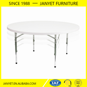 Factory direct cheap outdoor event white adjustable plastic round table