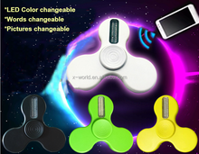 2017 Newest LED Pattern Changeable ABS Fidget Spinner APP Control usb charge hand spinner