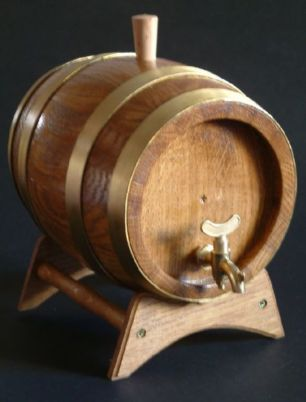 Barrel With Brass Rings And Brass Tap / Spigot