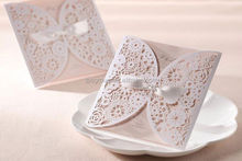 Gorgeous Vintage Lace Flower Cutout Wedding Invitations Cards With Bow in White Customizing and Printing
