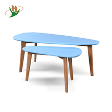 Irregular modern custom color code MDF bamboo legs wooden coffee table for living room