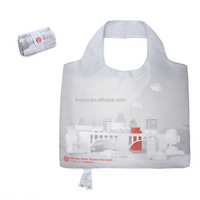 Custom Eco-friendly Durable Foldable Polyester Handle Bag Pocket Folding Nylon Shopping Bag