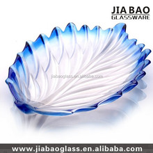 blue color glass fruit dish,frosted glass plate,colored glass cake plate GB1718/PDS3