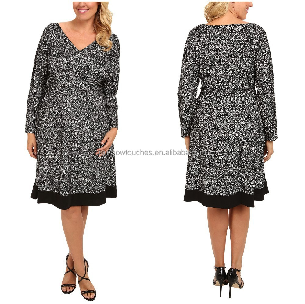 Nice Design Casual Fat Ladies Fancy Casual Printed Plus Size Midi Dress