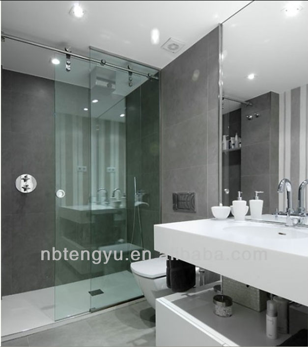 Tempered stainless steel frameless glass sliding shower door