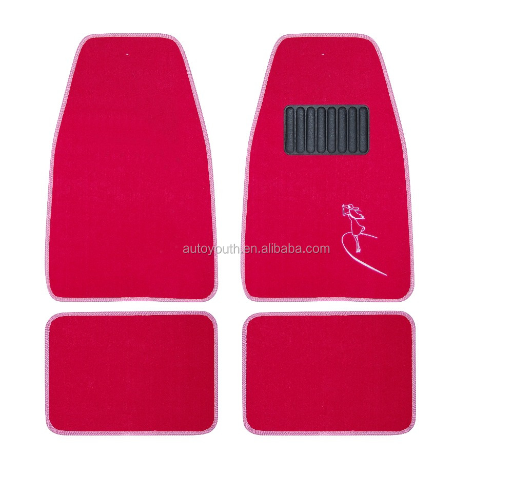Fancy Red 4pcs universal car floor trunk mat roll