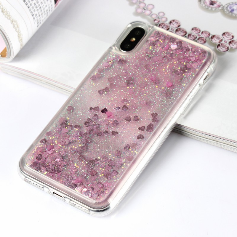 Liquid Soft TPU Case Quicksand Glitter Bling Phone Rubber Cover For iPhone X Case Mobile Accessories
