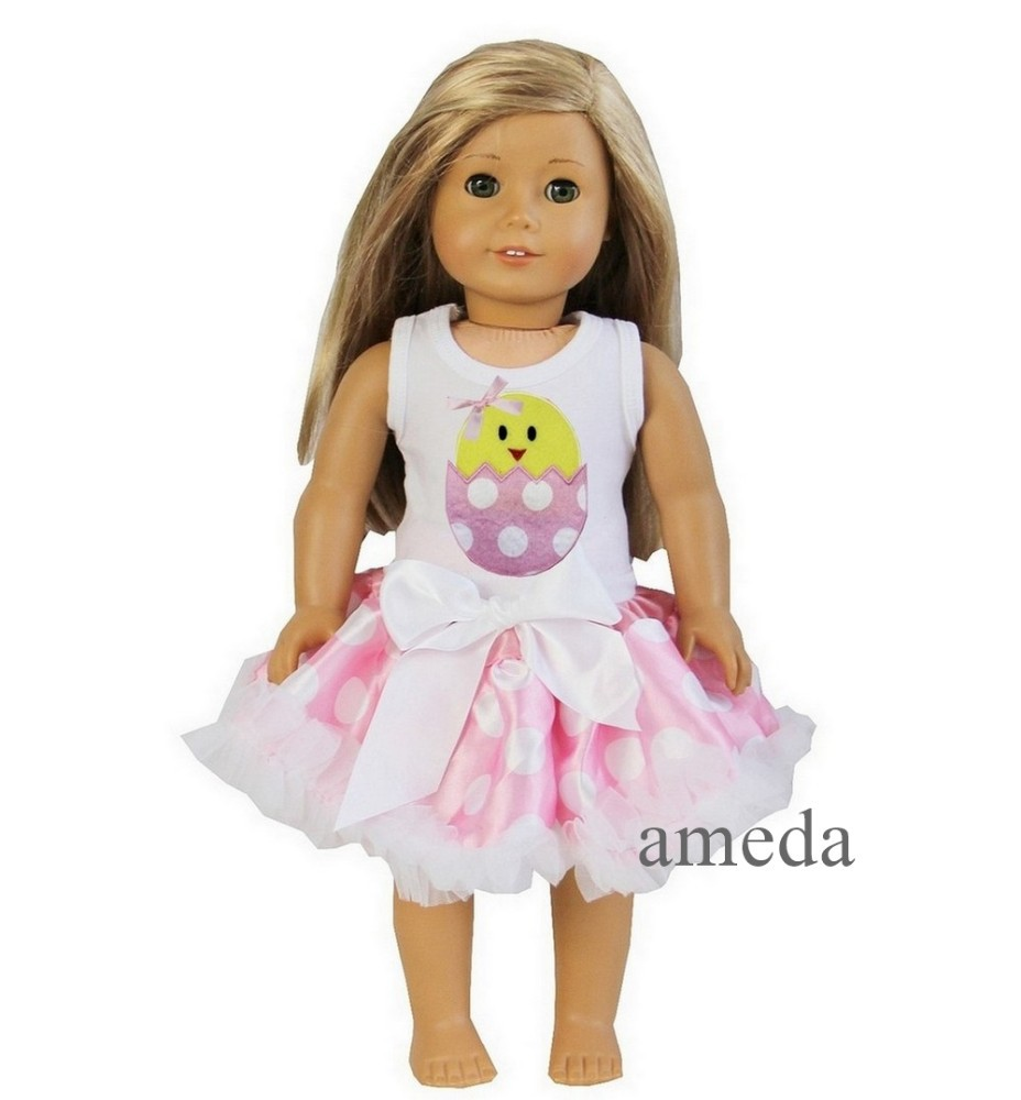 "18"" American Girl Doll Pink Polka Dots Pettiskirt with Easter Chick White Tank Top"