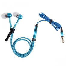 Fashion And Hot Selling Zipper Earphone Metal Shell In-ear Mobile Earphone With Mic For Mp3,Mp4,Mobile Phone