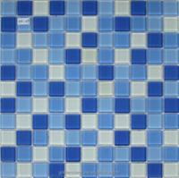 Crystal white and blue glass Mosaic Tile