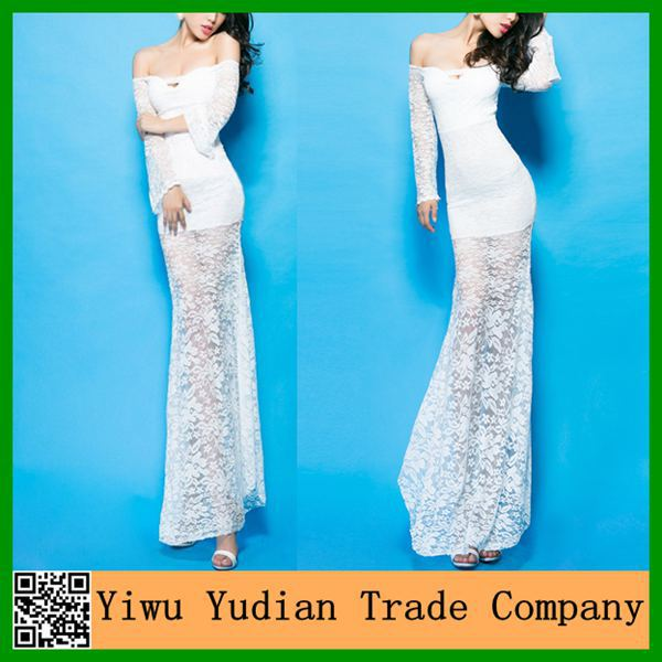 Wholesale Hot Sexy White Long Lace Fishtail Evening Dress