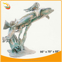 Little Mermaid Bronze Mermaid and Dolphin Statue