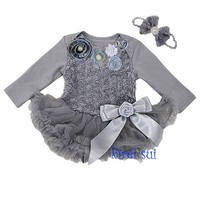 Baby Girls Crystal Rosettes Silver Grey Long Sleeves Bodysuit Pettiskirt and Headband Party Dress NB-18M