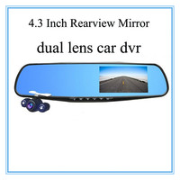 4.3 inch rearview mirror dual camera car dvr full hd 1080p car came, car camera front back