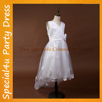 White baby gown party wear short front & long back flower girl dress SPSA-250
