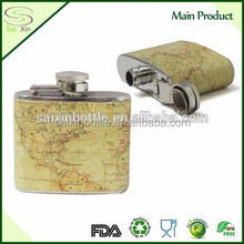 Outdoor portable 4oz covering leather Stainless steel camping matte black painting whisky hip flasks