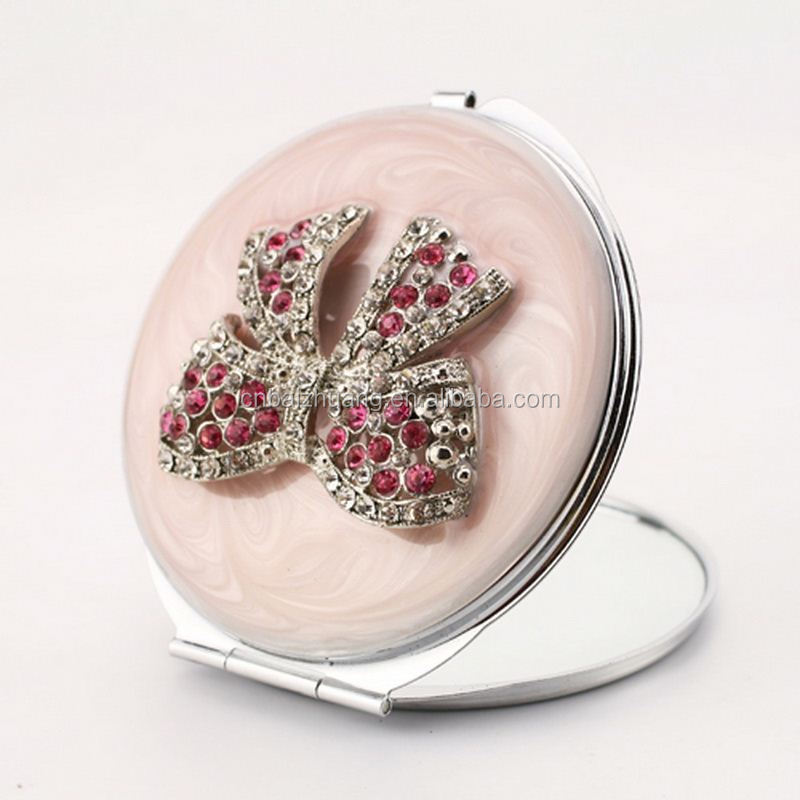 whistling compact mirror custom foldable round mirror metal magnifying mirror