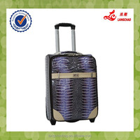 New PU Material Real Push Trolley Silver Color Metal Handle Trolley Case