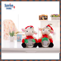 Wholesale OEM Soft High Quality stuffed Plush Farm Animal Baby Toy Christmas Sheep/Lamb/goat doll with led-flashing snowball