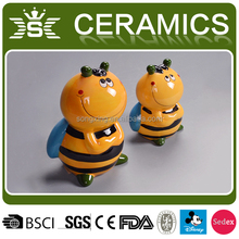 yellow ceramic bee novelty money bank coin sorter
