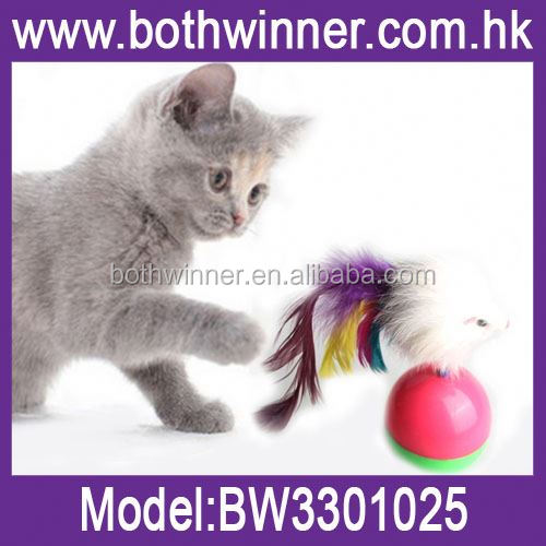 Plastic and feather mouse toy for cats ,H0T071 cheap price jump pet toys for cat foe sale