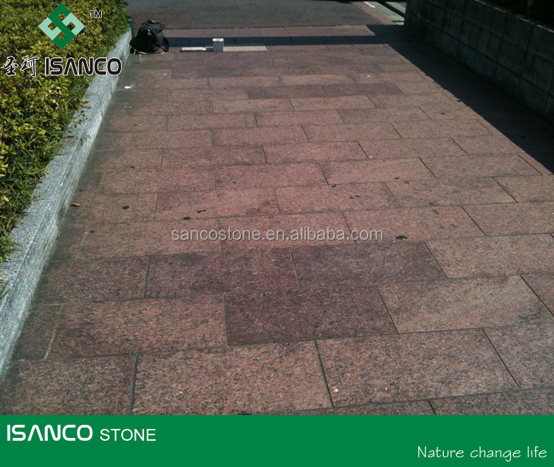 Shandong G352 red flamed Granite paving stone clabs for garden road