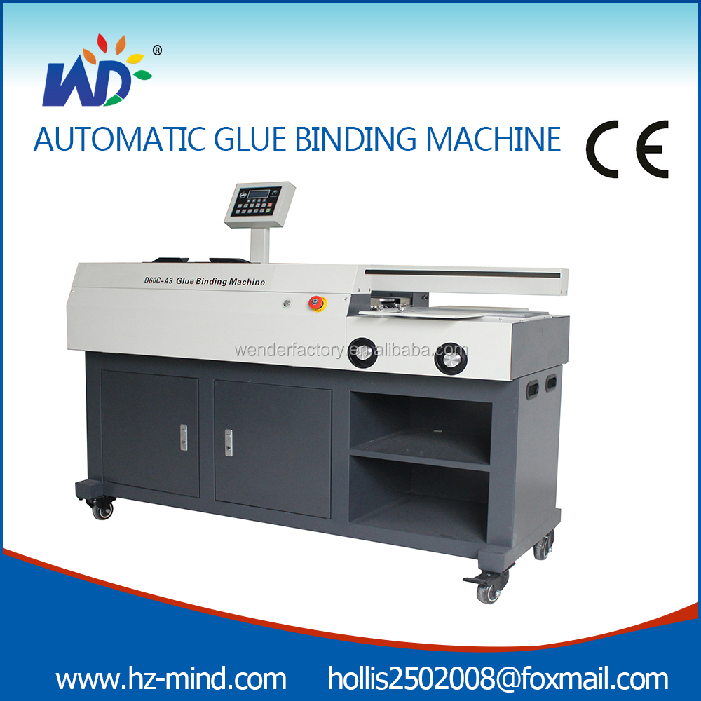 side gluing Electric 60mm A3 Perfect hot glue book binder binding machine