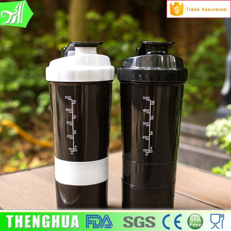 plastic water protein shake bottle / protein powder bottle