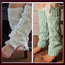 Knit Flat Lace Trim Crochet Boot Socks Leg Warmers Cotton or Acrylic Leg Warmers, Knitted Kids Leg Warmer With buttons