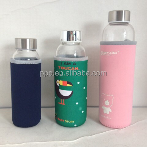 550ml hot selling healthy leak-proof crystal glass insulate sports bottle with sleeve