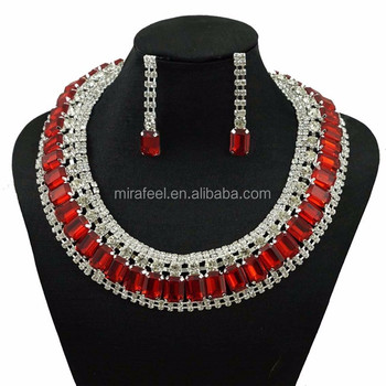 Red color stone lady fashion jewelry necklace, 2016 fashion good qualtiy jewelry for party