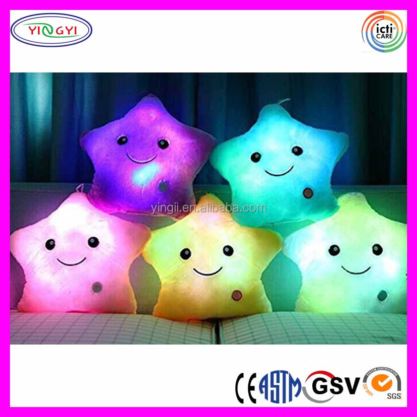 E546 Popular 7 Colour Changing Light Up Glow LED Pillow Cosy Relax Star Cushion Glow in the Dark Pillow