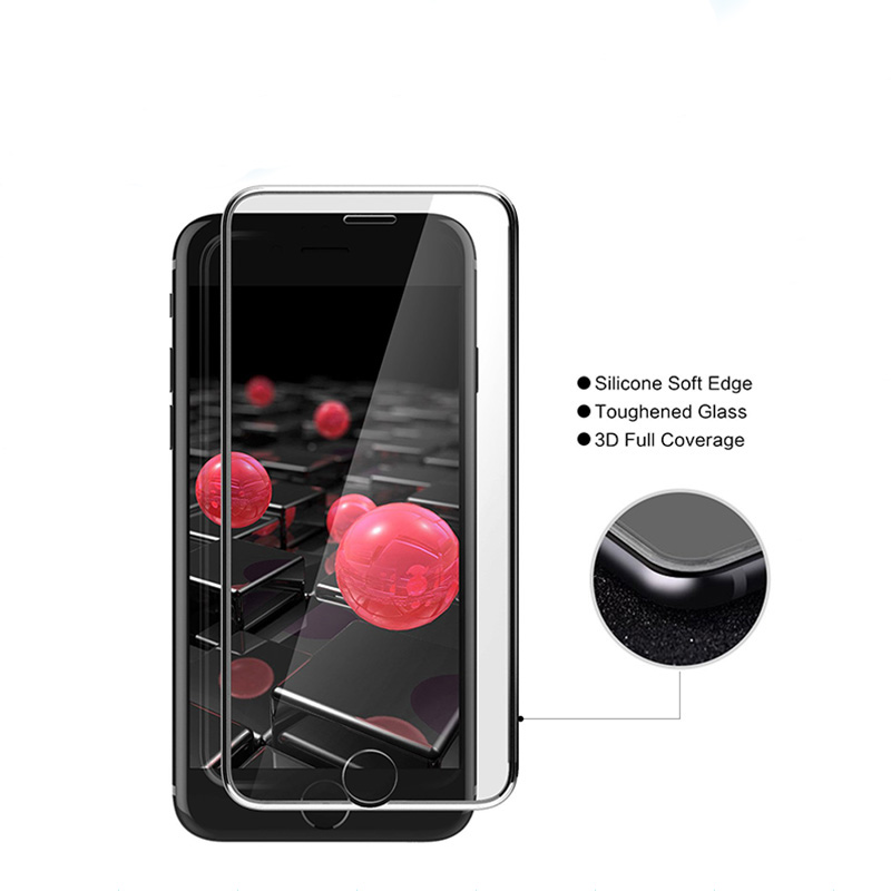 anti fingerprint Anti shock anti-radiation 3D silicon edge screen protector for iphone 7