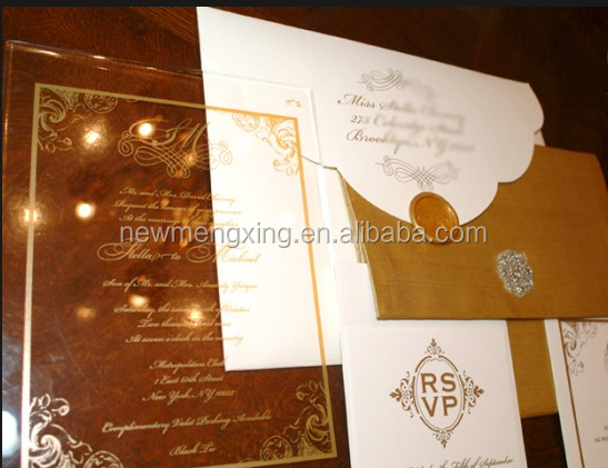 canton fair 2016 custom acrylic wedding invitation for royal wedding