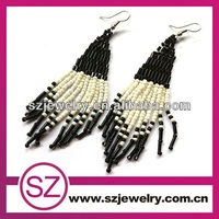 Wholesale double colors seed beaded earrings for 2014 Christmas gift