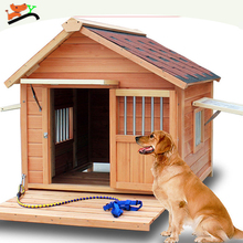 Top Quality Real Solid Waterproof Very Big Wooden Dog Kennel Original Color