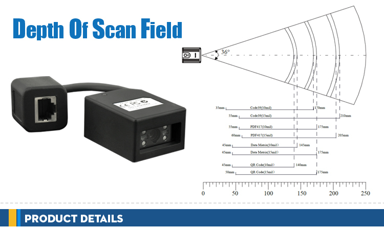 Industrial 1D 2D Fixed Mount Bar Code Scanner Module Fixed Barcode Scanner