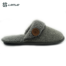 men's soft casual indoor slippers shoes with fastener