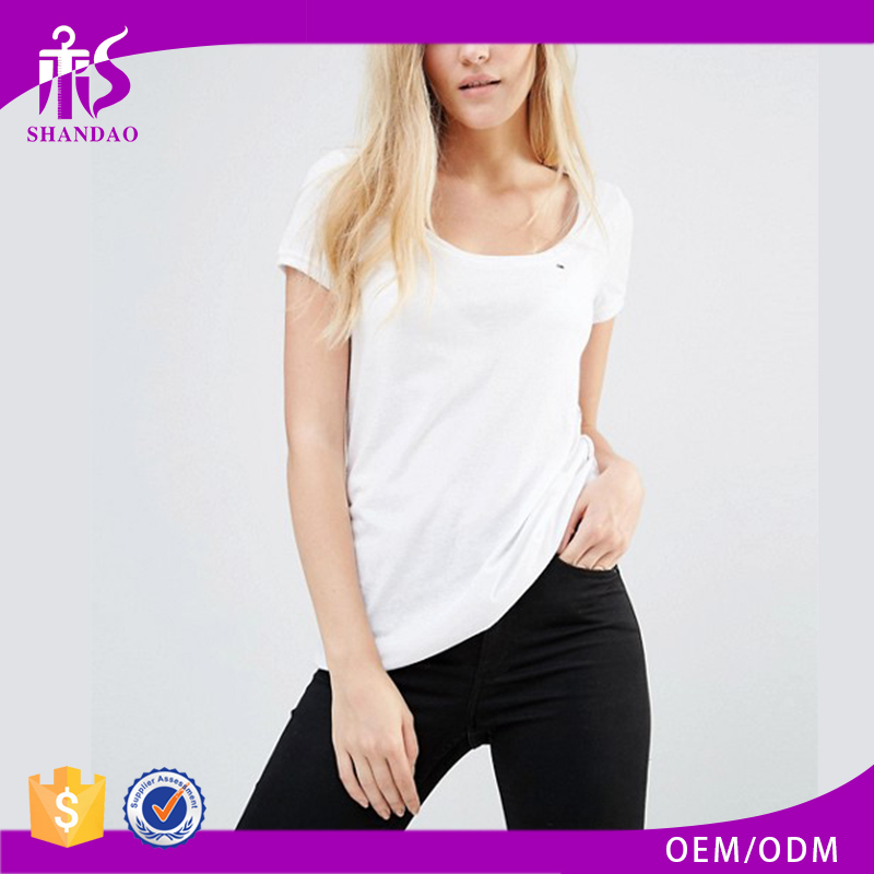 Guangzhou Shandao Custom Short Sleeve O-Neck Casual Breathable 180gsm 100% Cotton Packing Long Sleeve Women T Shirts