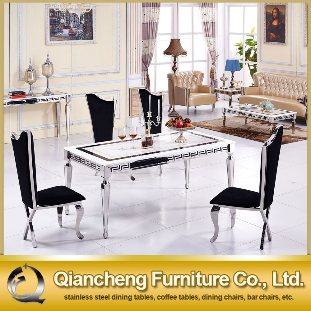 Concise Style Mirrored Dining Table with Metal Legs