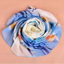 Shuijing design blue chiffon fish print head scarf wrap factory